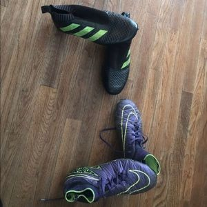 Nike and addidas cleats